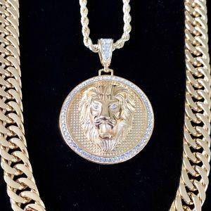 FULL SET LION DOUBLE CHAIN CUBAN LINK 18K GOLD!